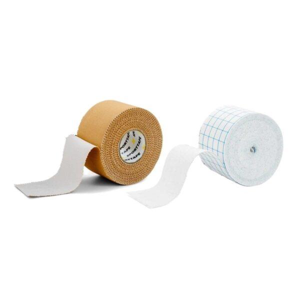 Sporttape Zinc Oxide Tan plus Fixation tape combi 1